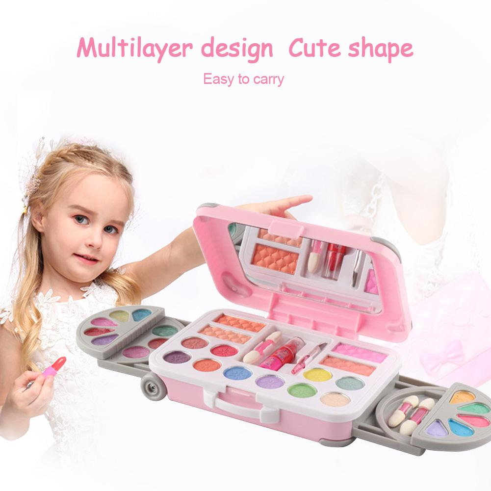 Children's Makeup Handbag Cosmetic Play Kit Girl Safety Lipstick Nail Polish Makeup Suitcase Set Play House Toy For Girls