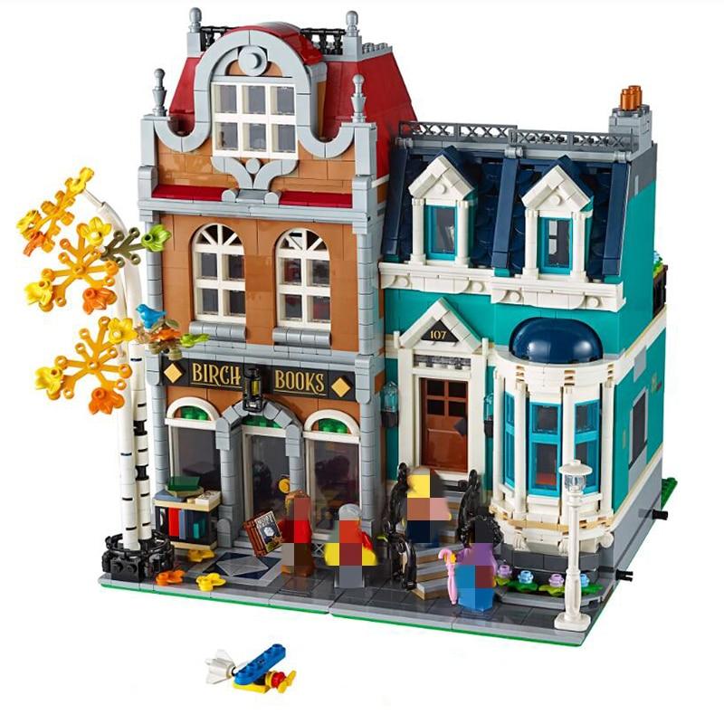 IN STOCK Bookshop With Light 10201 2524Pcs Creator City Street View Model Building Kits Blocks Bricks Toys Children Gift 10270