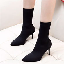 Liren 2019 Winter Women Sexy Fashion Boots Stretch Fabric Mid-Calf Slip-On Pointed Toe Wrapped Toe High Heels Thin Heels Shoes