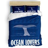 Marine Series Whale Tail Enthusiasts Duvet Cover Set Vintage Floral Art Design Collection of 3/4pcs Bedding Set Bed Sheet Pillow