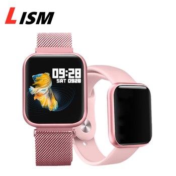Reloj inteligente P80 para hombres, IP68, resistente al agua, presión arterial, frecuencia cardíaca, para IPhone, Samsung, Huawei