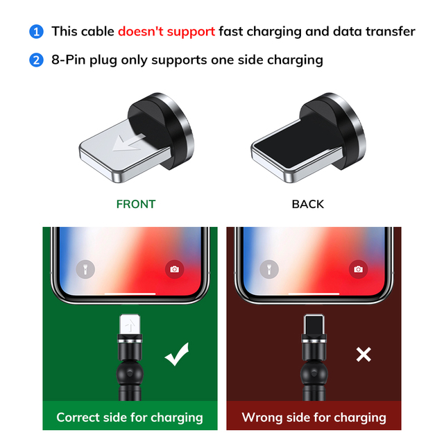 TOPK 540 Rotate Magnetic Cable Micro USB Type C Cable Magnetic Charging Charger Cable For iPhone 11 Pro XS Max Samsung Xiaomi 3