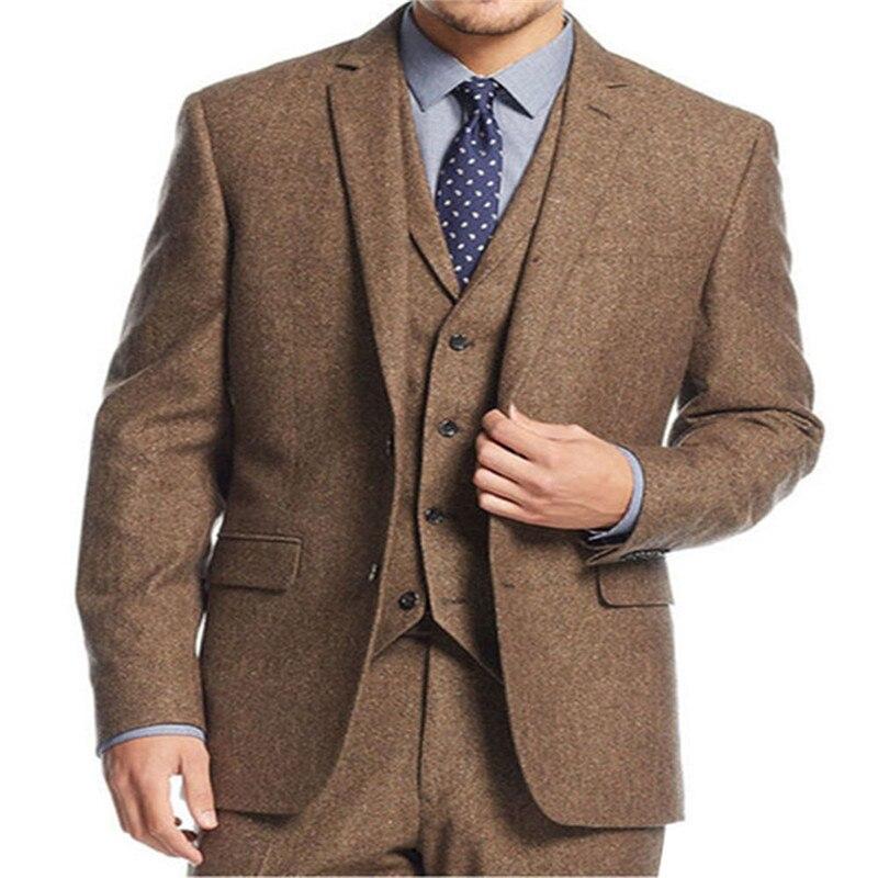 New Brown Tweed 3 Pieces Men Suits Fashion Formal Business Men Suit Set Custom Prom Groom Wedding Dress (Blazer+Vest+Pants)