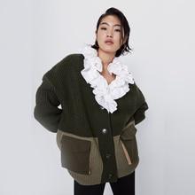 2019 Za Women Knitted Sweater Stitching Pocket Contrast Card