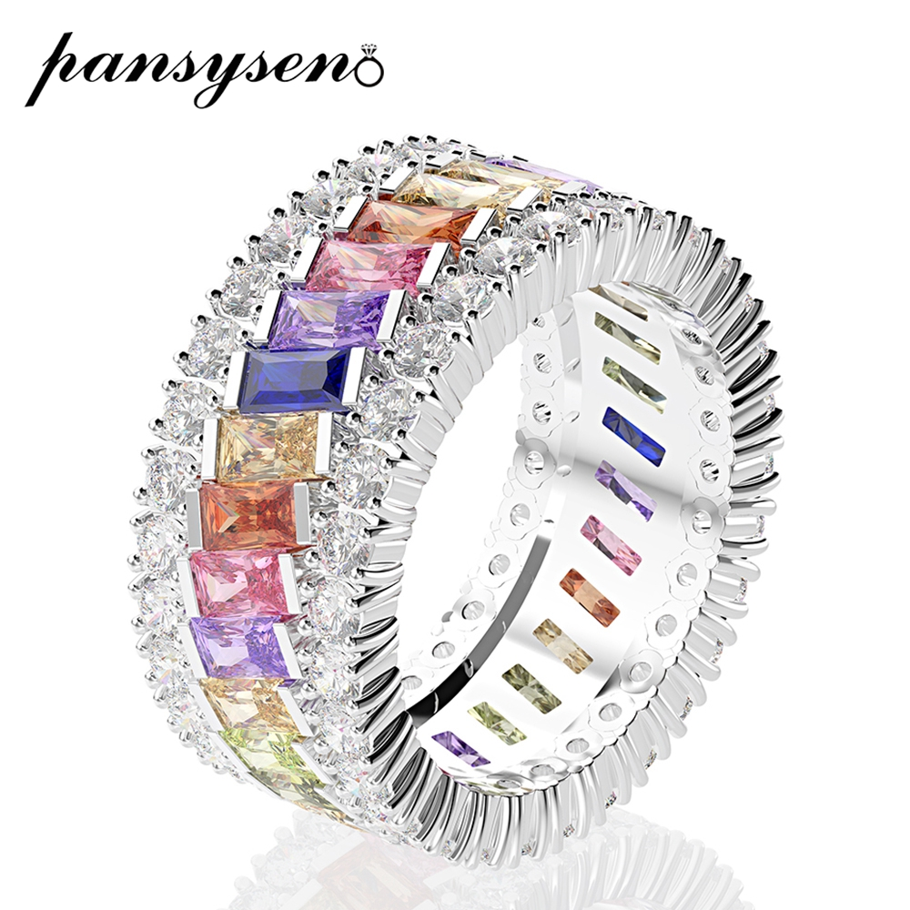 PANSYSEN 100% Real 925 Sterling Silver Tourmaline Circle Finger Rings For Women New Fashion Fine Jewelry Wedding Christmas Gifts