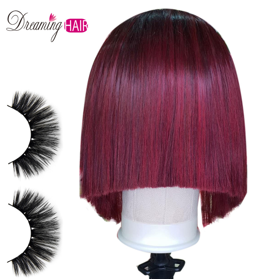 1b 99J Middle Part Short Bob Lace Front Human Hair Wigs 13x6 Brazilian Straight Red Burgundy Wigs Pre Plucked For Black Women