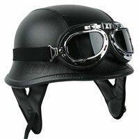 Motorcycle Helmet German Leather Style Half Face Helmet Cruise Chopper Biker Pilot Goggles M L XL motocross casco capacete DOT 4