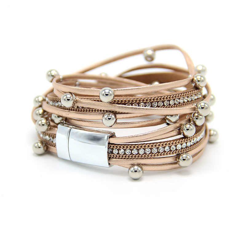רב שכבתי לנשים צמת עור סגסוגת ריינסטון מגנטי אבזם Armband צמיד Femme תכשיטים מתנות