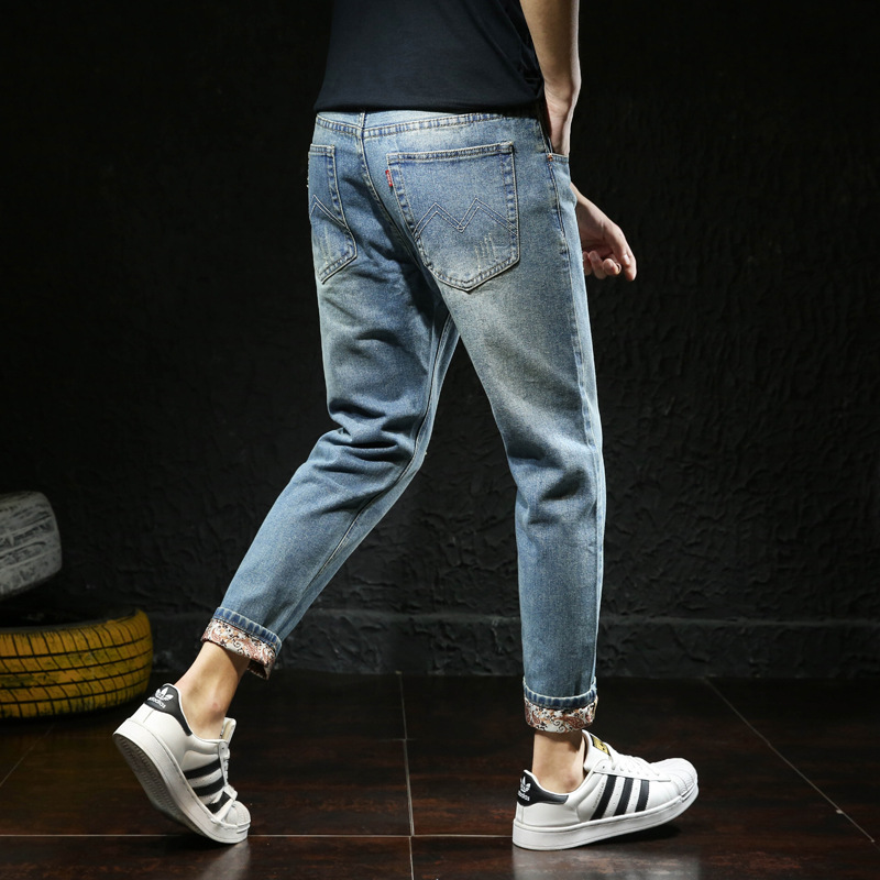 INS Ultra-huo Bao Kuan Capri Jeans Men's 2019 Autumn New Style Men Slim Fit With Holes Casual Skinny Pants Fashion