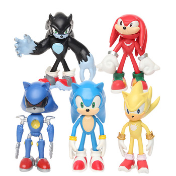 5pcs/set Sonic Figure Toys Doll Anime Cartoon Sonic Tails Knuckles Shadow Amy Rose PVC Action Toy Model For Children Gift недорого