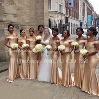 100% Real Photos Dark Champagne Bridesmaid Dresses Mermaid 2020 Women Long Off Shoulder Wedding Party Dress Vestidos