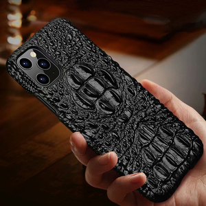 Image 3 - Genuine Leather Case For iPhone 11 Pro Max Back Case Ckhb op Luxury Croc Head Phone Bag Cover For iPhone 11Pro Max Case