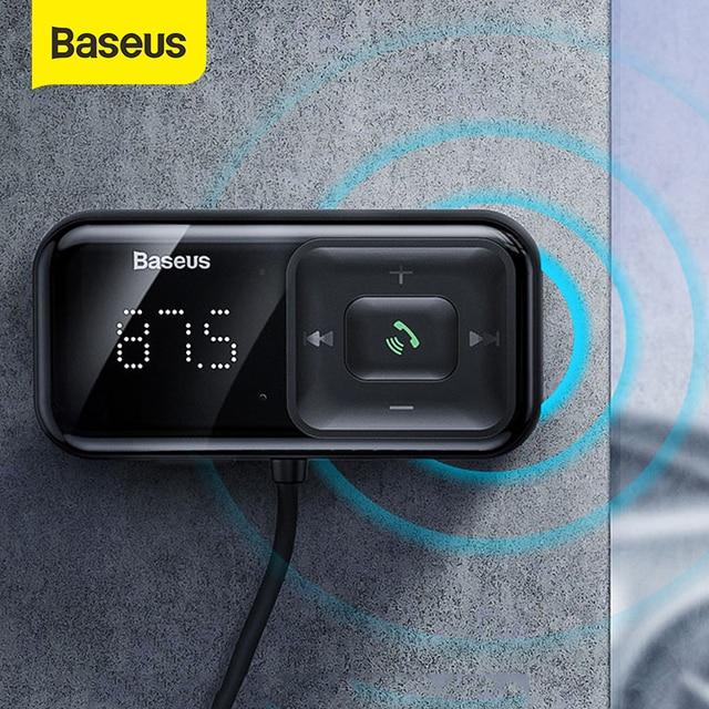 Baseus carro bluetooth 5.0 transmissor fm sem fio mp3 player receptor 3a duplo usb carregador de carro isqueiro para samsung