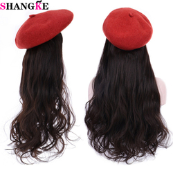 SHANGKE Synthetic Fisherman Long Wavy Straight Wigs For Women Hair Extension Black White Knitted Cap Winter Fashion Warm Hat Wig