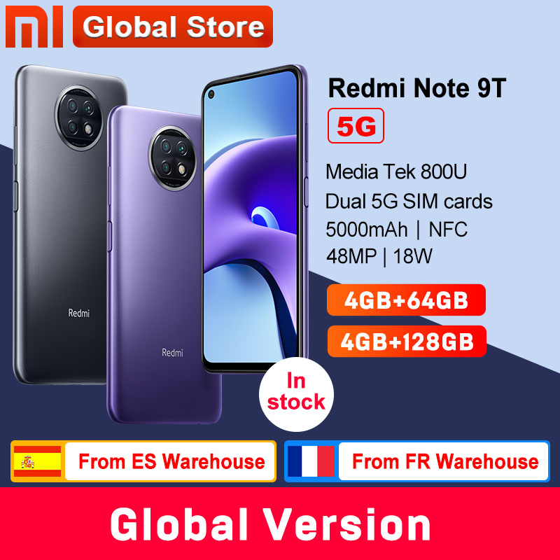 Глобальная версия смартфона Xiaomi Redmi Note 9T 5G 4 Гб 64 Гб/128 ГБ Dimensity 800U NFC 5000 мАч камера 48 МП
