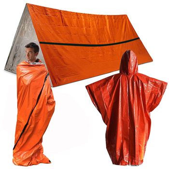 Set de 3 uds. De refugio de emergencia, manta térmica impermeable para exteriores, rescate, Camping, saco de dormir SOS, juego de carpa de tubo de supervivencia con Poncho