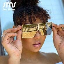 Lunettes de soleil carrées surdimensionnées pour femmes, monture métallique, Vintage, miroirs, bleu et or, UV400, tendance 2020