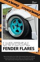 STANCEWORKZ Universal Fiberglass Fender Flare Pair 2pcs FRP Fiber Glass Wheel Arch Cover For S2000 R32 R33 R34 GTS GTT MX5 Miata