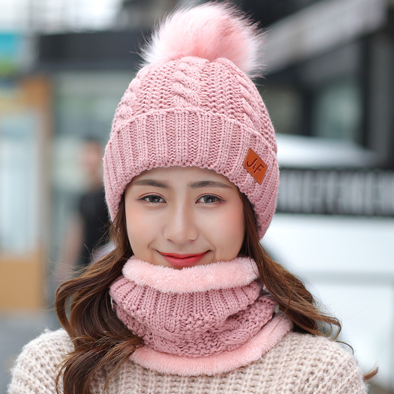 Women's Winter Hat And Scarf Set Thicken Cotton Skullies Beains Hat Winter Warm Ring Scarf Female Hats For Girls Pom Poms Hat