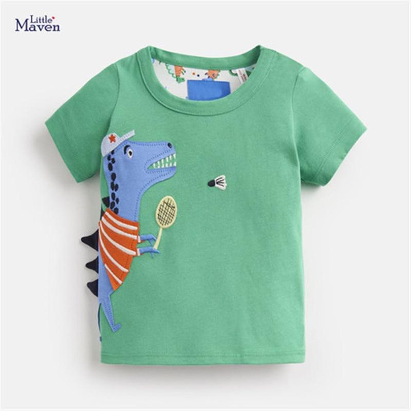Little Maven 2020 New Summer Baby Kids Boy Girl Clothes Short Sleeve O-neck T Shirt Cartoon Dinosaur Tee Tops For 1-7 Years Boys