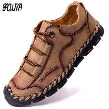 Лидер продаж! Туфли мужские кожаные дышащие, мягкие лоферы, плоская подошва, ручная работа, брендовые Мокасины, римские кроссовки, Повседневная летняя обувь