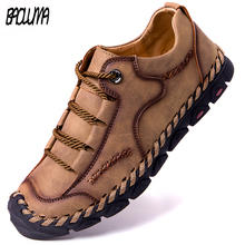 ร้อน! ฤดูร้อนผู้ชายรองเท้าหนังBreathable Soft Handmade Loafersผู้ชายโรมรองเท้าแบนรองเท้าแตะผู้ชายรองเท้าผ้าใบ