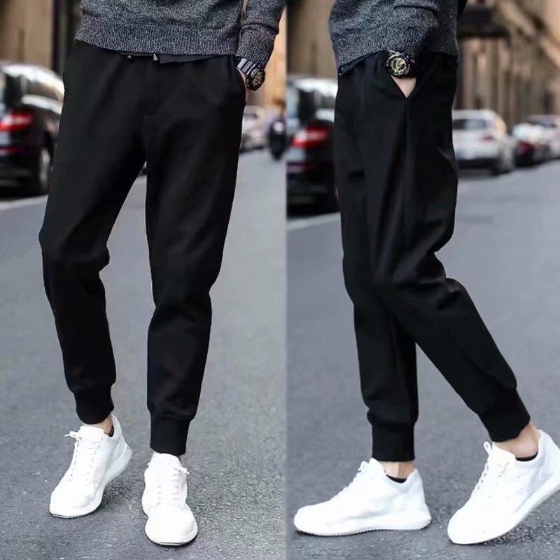 M-5xl Large Size Casual Harem Pants Ankle Banded Pants Fashion Pure Black Slim Fit Skinny Pants Men And Women Athletic Pants