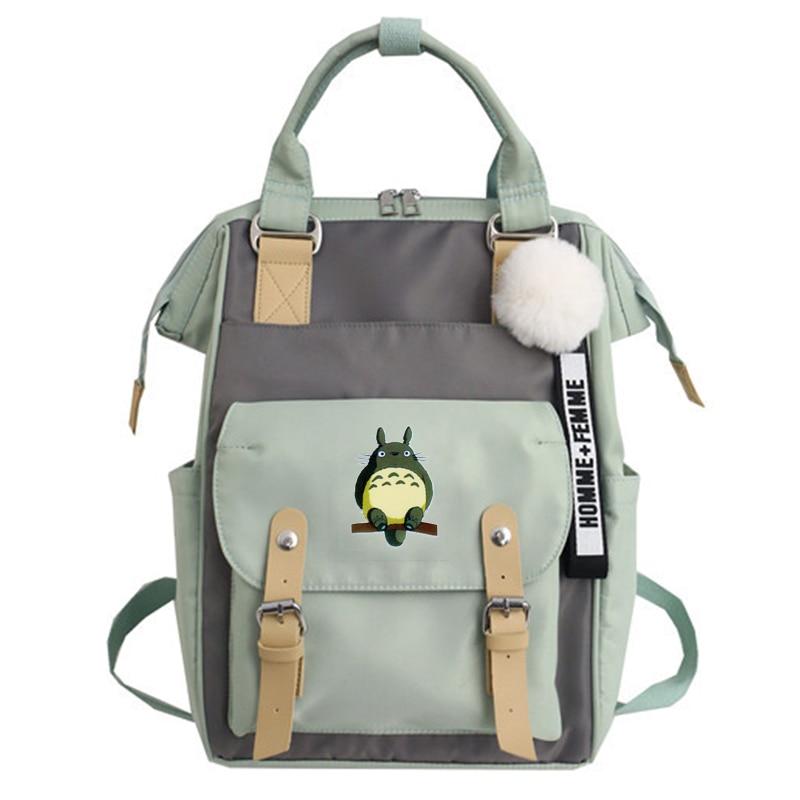 Harajuku Totoro Waterproof Nylon Women Backpack Japanese Style Chic School Bag For Teenage Girls Travel Backpacks Mochila