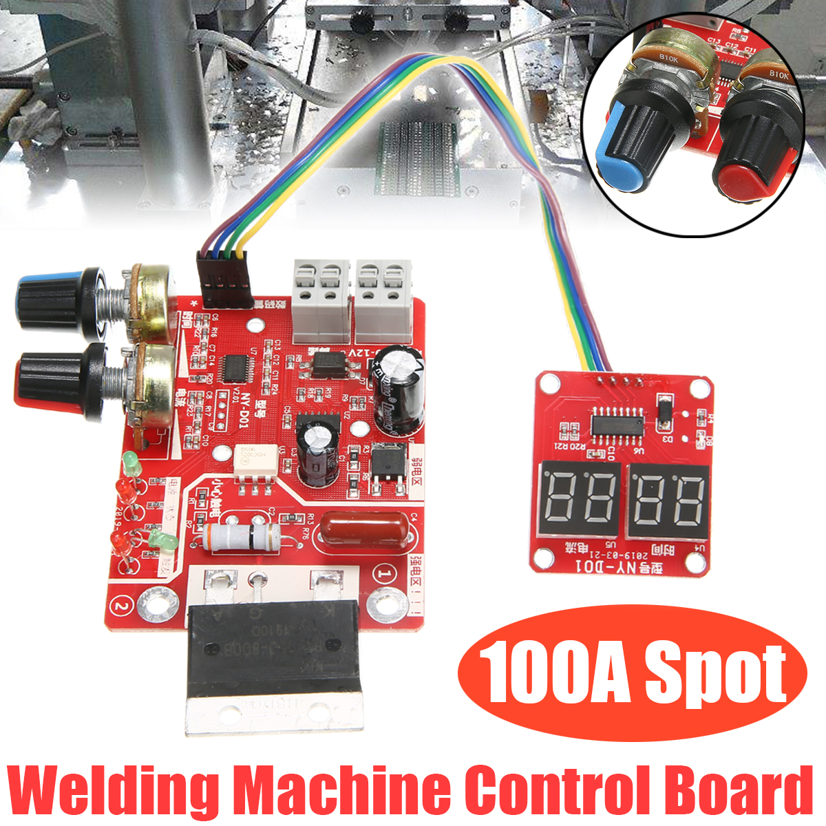 100A Digital Spot Welder Machine Time Control Board Spot Welding Adjust Time & Current Transformer Controller Panel Module