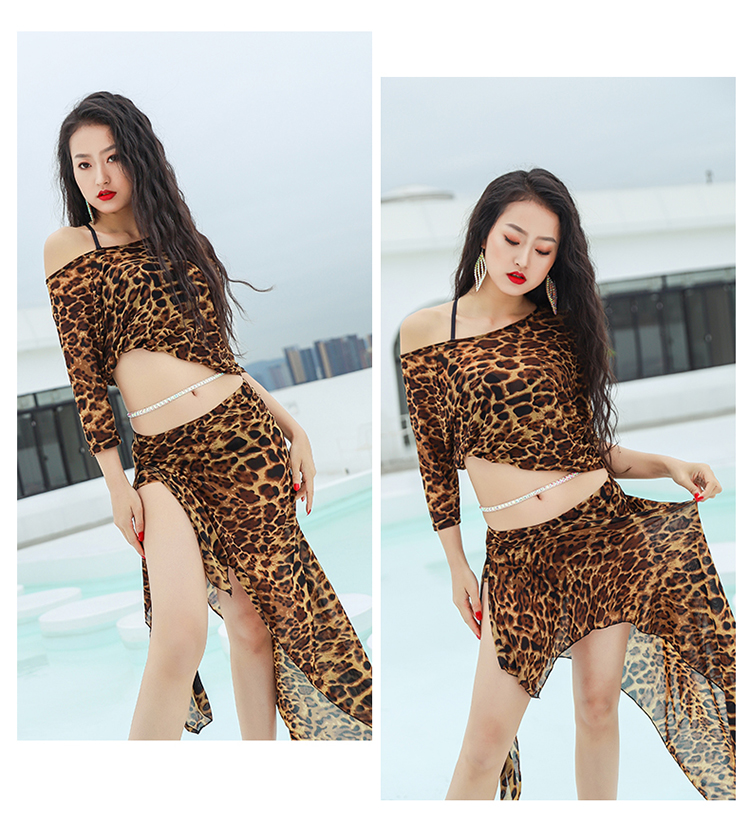 Women Belly Dance Costume Oriental Dancing Clothing For Women Belly Dance Wear Stage Leopard Print Performance Skirt Set