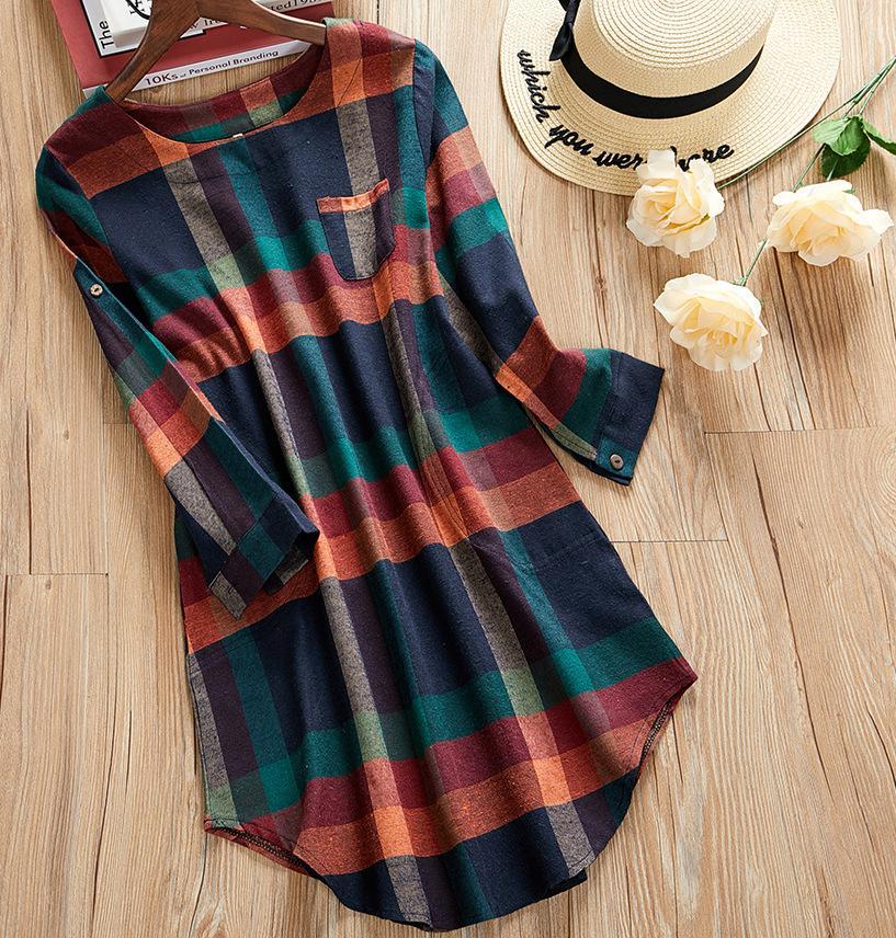 2020 New Plus Size Plaid Dress Women O-neck  Long Sleeve Loose Pullovers Streetwear Mini Dress Casual Womens 8