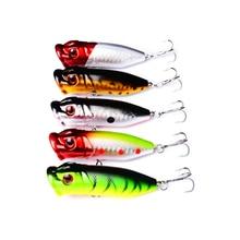 5Pcs Popper Fishing Lures 6.5cm 13g Hard Baits Artificial Make Bass Crankbait Wobblers bait Treble Hooks Tackle BP014