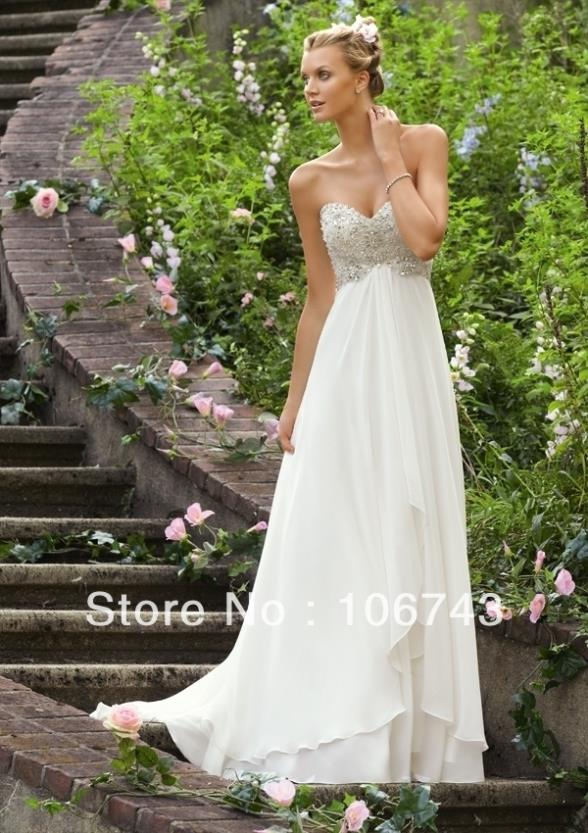2016 Wedding Dresses Free Beach Shipping Hot New Sweetheart Long Chiffon Back Bride Maid Dresses For Beaded Wedding Gowns Bridal