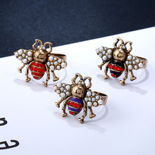 Vintage Open Rings for Women Wholesale Zinc Alloy Imitation Pearl Rhinestone Bee Ring Fashion Jewelry Accessories Adjustable цена