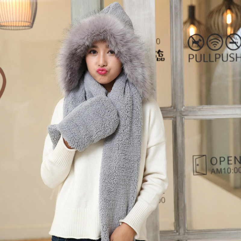 Cute Plush Hooded Scarf Hat Pocket Gloves 3 In 1 Warm For Women Winter Outdoor NFE99