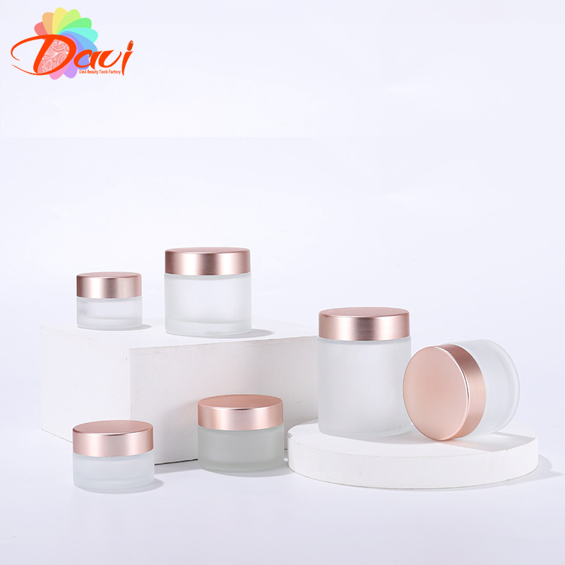10pcs/Lot 5-50ml Rosepink Lid Frosted Glass Face/Hand Cream Mask Lotion Jar Pots Bottle Refillable Container Cosmetic Skincare
