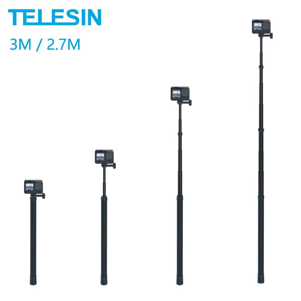 Телесин 3 м монопод из углеродного волокна 2,7 м селфи-палка Регулируемая длина для GoPro Hero 9 8 7 6 5 Max Insta360 Osmo Action Sjcam