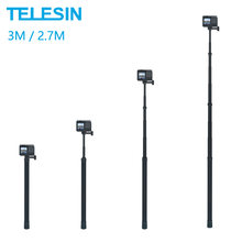 TELESIN 3M Monopod Carbon Fiber 2.7M Selfie Stick Adjustable Length For GoPro Hero 9 8 7 6 5 Max Insta360 Osmo Action Sjcam
