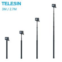 Telesin 3m extensível monopod fibra de carbono 2.7m selfie vara ajustável para gopro hero 9 8 7 6 5 max insta360 osmo ação sjcam