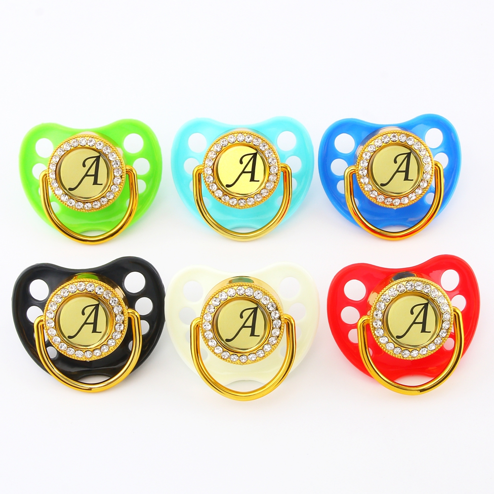 Any Name Initials Letter Bling Pacifier 6 Colors Luxury Baby Pacifier Lollipop BPA Free Dummy