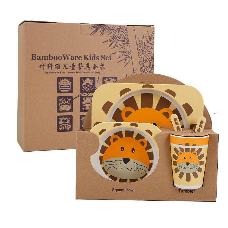 Juego de vajilla de fibra de bambú para niños bandeja con bol de dibujos animados creativos. Cuchara Tenedor Taza Cinco juegos de vajilla de regalo