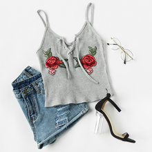 Summer Halter Sexy Kitted Crop Tops White Grey Black Blue Croptop Embroidery Short Women Cropped Tank Top Haut Femme Blusa(China)