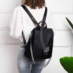 Image 3 - Fengdong women black flower vintage backpack anti theft small travel backpack for girls waterproof oxford floral school backpack