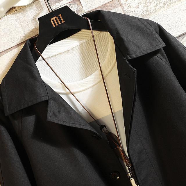 Wiosna jesień Streetwear na co dzień kurtka Cargo kurz płaszcze męskie z kapturem armia wiatrówka bawełna czarny Hip Hop długi Trench Coat mężczyźni