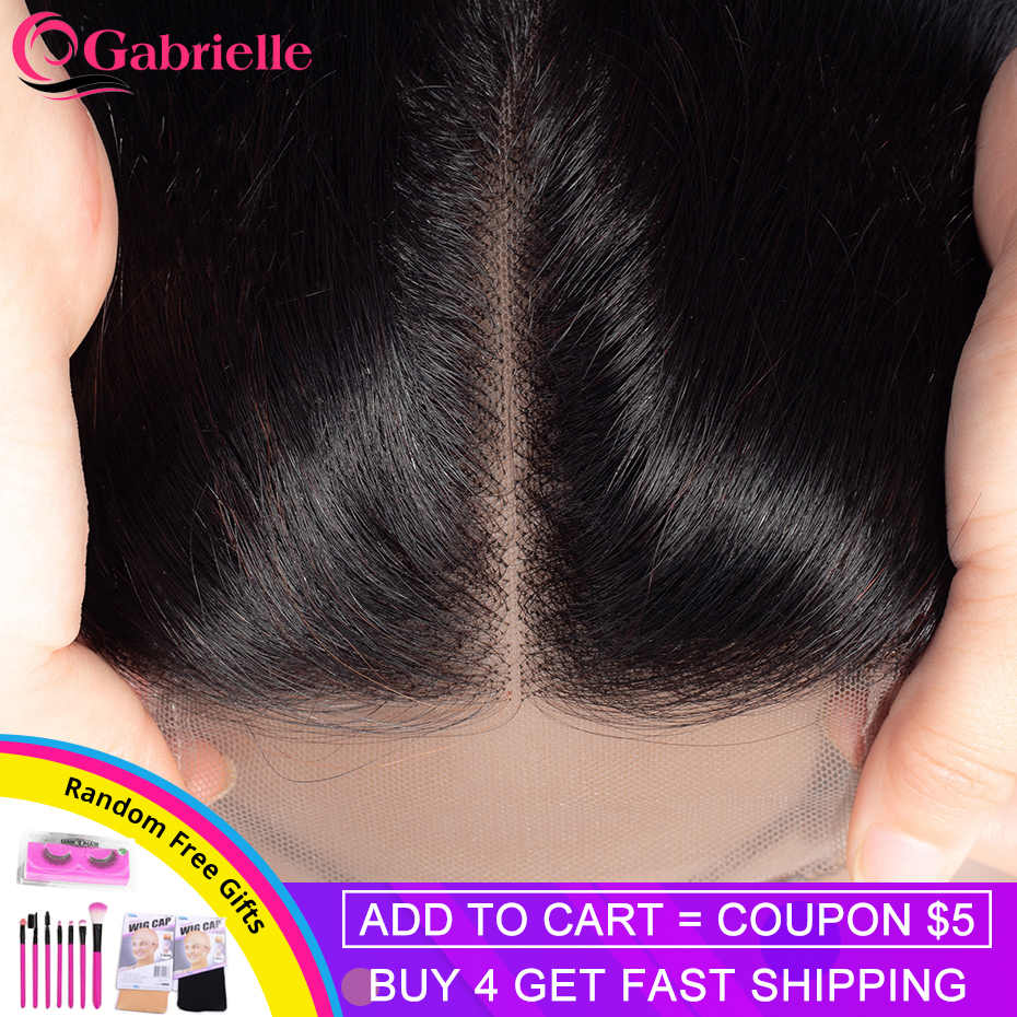 "Gabrielle Brazilian Hair Straight Lace Closure Free/Middle/Three Part Natural Color 4x4 Swiss Lace Top Closure Remy Hair 8""-22"""
