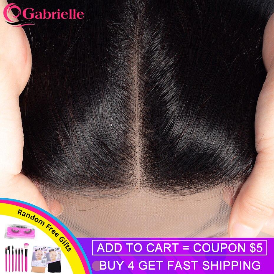 Бразильские волосы Gabrielle, прямые волосы на шнуровке, свободные/Средние/три части, натуральный цвет, 4 х4 швейцарские волосы Remy, 8-22 дюйма