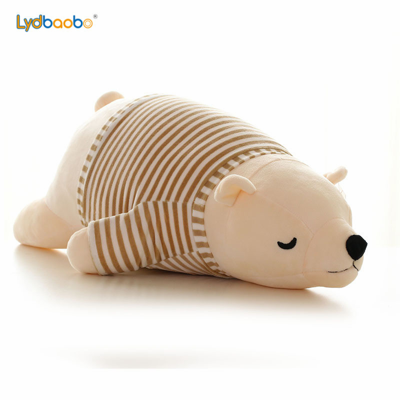 2019 New Kawaii Dressing Polar Bear Plush Doll Baby Super Soft Stuffed Wearable Sleeping Bear Pillow Animal Plush Toy Kids Gifts