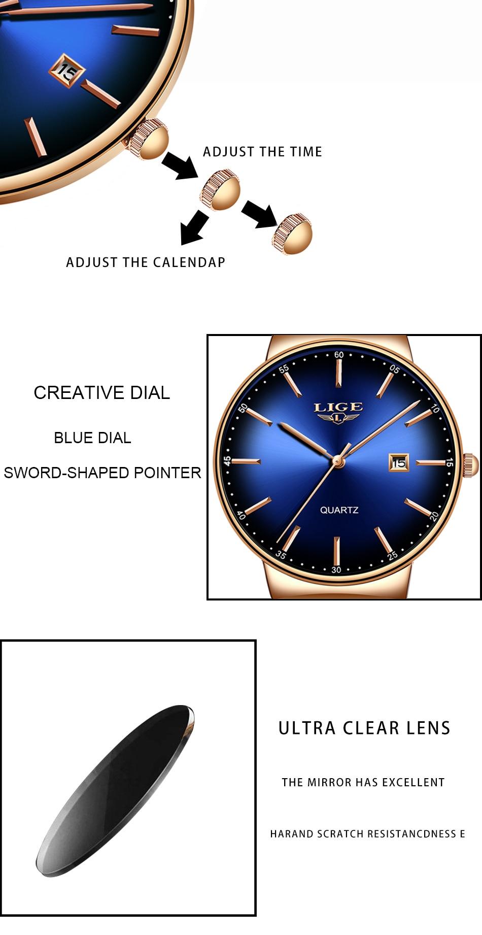 LIGE New Mens Watches Top Brand Luxury Fashion Mesh Belt Watch Men Waterproof Wrist Watch Analog Quartz Clock erkek kol saati