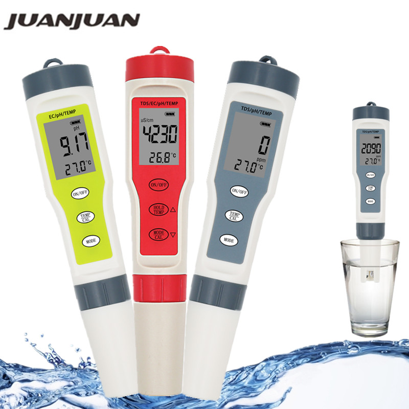 Professional TDS PH Meter PH/TDS/EC/Temperature Meter Digital Water Quality Monitor Tester For Pools, Drinking Water, Aquariums