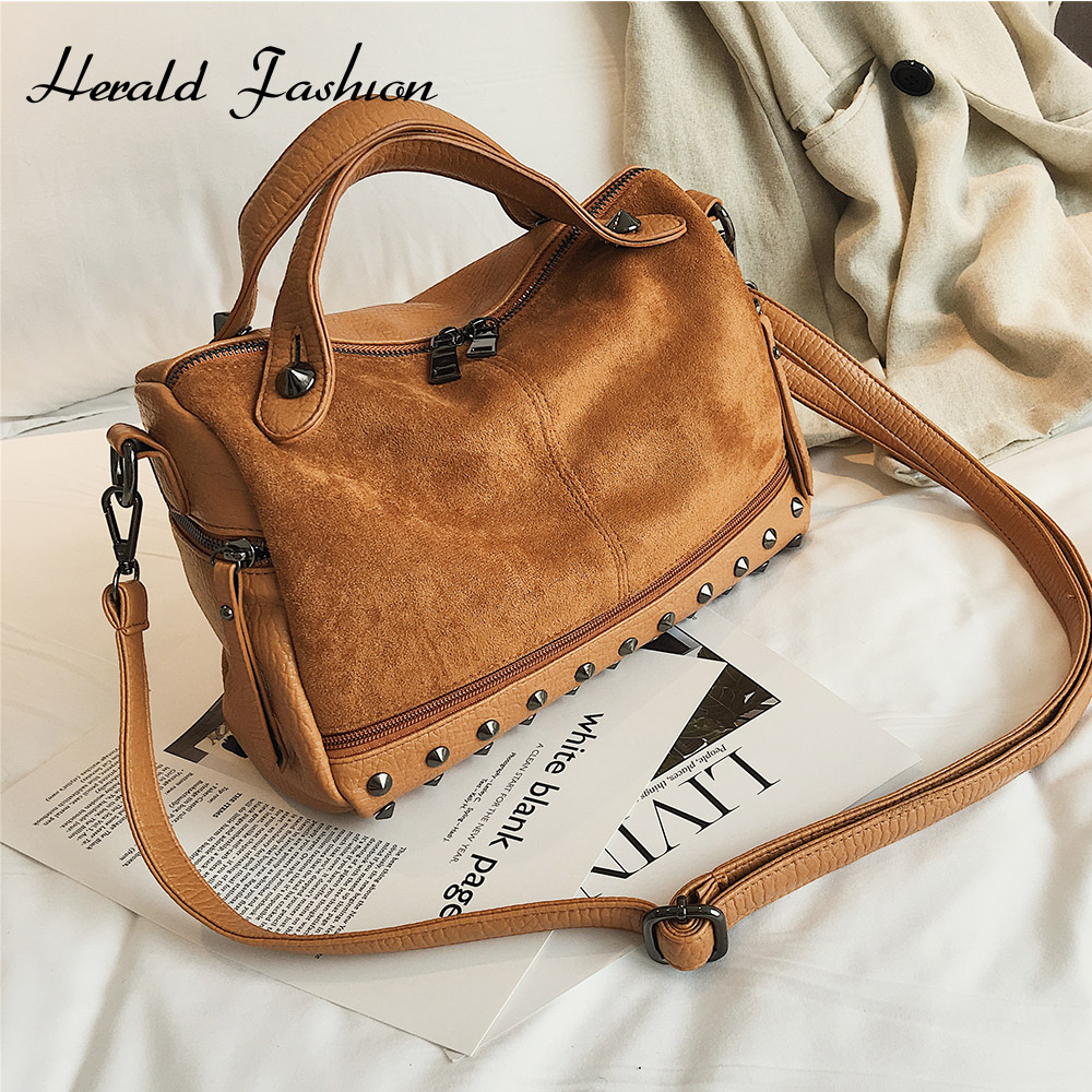 Herald Fashion Nubuck Leather Hand Bags Female Top-handle Bags Rivet Large Women Shoulder Bags Ladies' Motorcycle Vintage Bag
